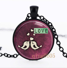 Valentine's Day Love Birds Glass Dome black Chain Pendant Necklace wholesale