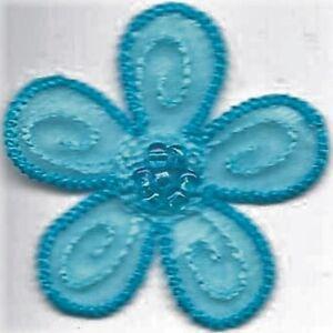 """1 1/2 """" x 1 5/8 """" Ressort Turquoise Bleu Fleur Avec / Perles Patch"""