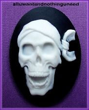 "2 GOTH PUNK HALLOWEEN PIRATE WHITE ""LAUGHING SKULL"" on BLACK 40mm x 30mm CAMEOS"