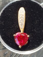 Ruby Heart & Round Cut And Diamond Pendant 10kt Solid Yellow and White Gold