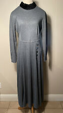 New listing Vintage Gray Flannel Acrylic Knit Faux Fur Collar long Sleeve Dress w/buttons 10