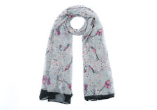 Ladies Scarves Silver Japanese Bird Print  Shawl Sarong Wrap Free Fast Delivery*