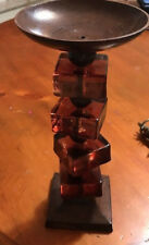 """Heavy Metal and Amber Brown Acrylic Candle Holder-10"""" Tall"""