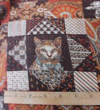 """Rare American 19thC Dog & Cat Printed """"Cheater"""" Cloth Fabric~Colllectors~2yds2"""" L"""
