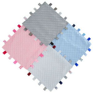 Soft Touch Taggie Blanket Baby Comforter Dimple Bobble Boy Girl Newborn Gift