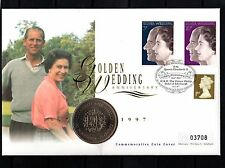 1997 Golden Wedding MERCURY COIN Cover Buckingham Palace Rd H/S 1972 Crown