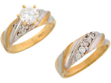 Ladies Engagement and Wedding Ring Duo Set 10k or 14k Two-Tone Gold White Cz