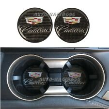 2Pcs Cadillac Carbon Fiber Car Cup Holder Pad Water Cup Slot Non-Slip Mat