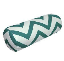 le04g Deep Green On Beige Zig Zag Cotton Canvas Yoga Bolster Cushion Cover Size