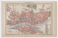 1900 ORIGINAL ANTIQUE CITY MAP OF BREMEN WITH STREET INDEX / GERMANY