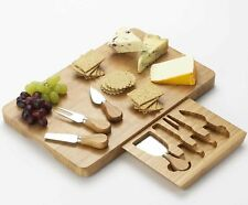 Extra Large Rectangular Wooden Cheese Serving Board Set with Knives & Drawer