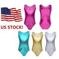 US Girls Kids Shiny Patent Leather Ballet Dance Gymnastics Leotard Dress Costume