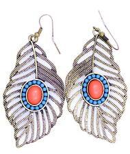 Vintage style bronze peacock eye feather dangle earrings