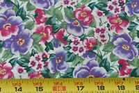 By 1/2 Yd, Pink Lavender Green Floral on White Quilt Cotton, Kaufman, N5869
