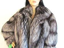 "Glamorous Luxurious Silver Fox Full Length 53""  Shawl collar Coat Med-X large"