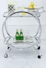 Contemporary Serving Drinks Chrome Trolley Cart Mirrored Glass Storage Shelve
