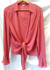 Viyella 14 Pink SILK Glass Beaded Bell Sleeve Tie Top Vintage Shrug Top Fab!