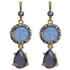 Kirks Folly Seaview Moon Tears Leverback Earrings Goldtone & Purple AB