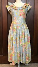 New listing Vintage Garden Party Dress Full Circle Claudia Barnes Size 10 Petite Blue Floral
