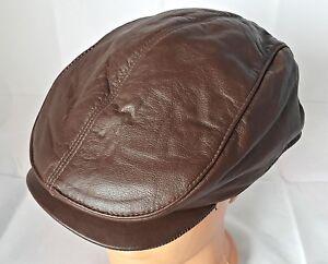 VINTAGE AUTHENTIC BROWN LEATHER NEWSBOY CABBIE CAP HAT US 7 1/4 EU 58
