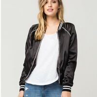 Tillys Full Tilt Women's Black Zip LA State Of Mind Biker Bomber Jacket Large