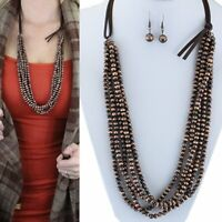 "Western Navajo Style Faux Pearl Copper Bead Five Strand 32"" Long Necklace Set"
