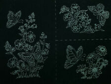 Tri-Chem 7897 Butterflies Black Velvet Ready to Paint Liquid Embroidery