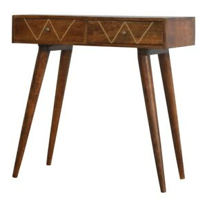 Solid Wood Retro ArtDeco Vintage Style Geometric 2 Drawer Console Hallway Table