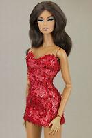 ELENPRIV Ultra red  sequined mini dress for Fashion Royalty FR2 dolls