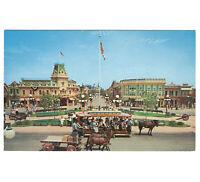 Disneyland Vintage Unused Postcard 1955 Main St USA View Towards Castle P12289