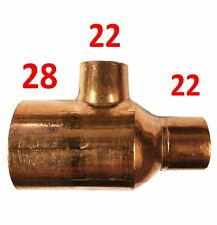 28mm x 22mm x 22mm Reducing Tee - End Feed