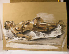 "24"" x 18"" Conte & Pastel Life Drawing Brown Kraft Paper Nude Women Laying Down"