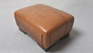 Footstool / Small Stool / Vintage real tan leather/ Brown   (CODE TAN 3)