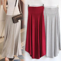 Women Modal Summer Loose Long Dress High Elastic Waist Pleated Long Maxi Skirt