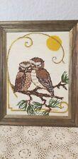 2 Owl owls under the moon Framed Wall Art Vtg Mcm Boho Mod Embroidery Needlework
