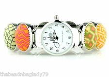 NEW JILZARA Premium Clay Beads PAPAYA PEACH ORANGE Multi Color OVAL Watch