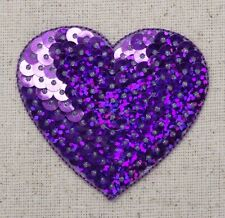 """Large Purple 2"""" Sequin Heart - Valentine - Iron on Applique - Embroidered Patch"""