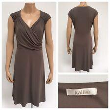 KALIKO Taupe A Line Dress Size 20 UK Wrap Top Sleeveless Stunning Worn Once