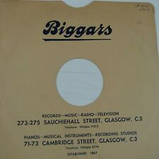 "78 rpm 10"" inch card gramophone record sleeve , BIGGARS  GLASGOW"