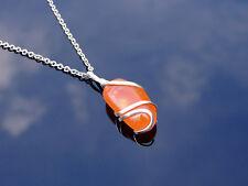 Rojo Collar Colgante de ágata envuelto de piedras preciosas naturales 50 Cm Piedra de Curación Chakra