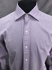 TM LEWIN French Cuff Dress Shirt -Lilac Plaid 100's Cotton Long Sleeve 16 x 35