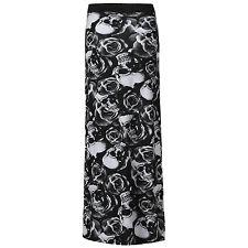 LADIES MULTI PRINT LEOPARD STRIPE SKULL CAMOU PRINT LONG JERSY SKIRT MAXI DRESS