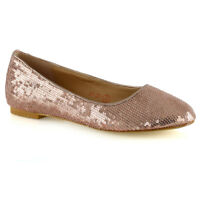 New Womens Sequins Shoes Ballet Ladies Flat Slip On Pumps Size 3-9