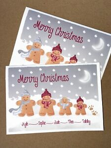 Personalised Gingerbread family Christmas Cards Single or Multiple C6 size