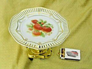 Tafelaufsatz Etagere  Anbieteschale mit Obstdekor dbr. Porzellan Messing #P1103