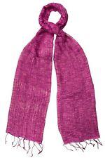 Rosa Brillante Seta & Cotone Intreccio Sciarpa Con Trama-FAIR TRADE nuova con etichetta 180 CM x 40 cm