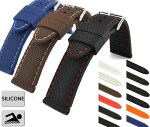 WATCH STRAP SILICON RUBBER TRAVELLER WATERPROOF 16MM 18MM, 20MM, 22MM, 24MM US