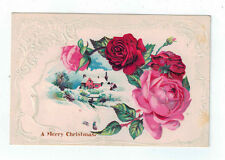 """Vintage Postcard """"A Merry Christmas"""" House Snow Scene Red Pink Roses Undivided"""