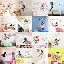 18 Styles Butterfly Girl Flower Removable Wall Stickers Vinyl Decal Mural Decor
