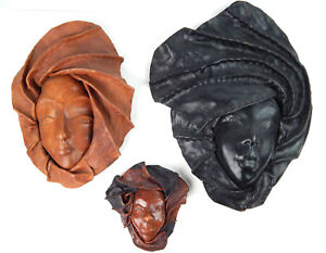 """Vintage Set of 3 Artisan Leather Molded Face Mask Sculpture Wall Hangers 6""""-17"""""""
